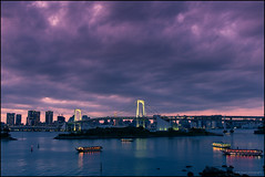 Rainbow Bridge II (nl_photo) Tags: 2017 japan tokyo travel rainbowbridge bridge structure sunset boat harb