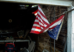 Twisted Mess (hutchphotography2020) Tags: flag junk storage garage mess hutchphotography nikon