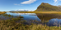 Iceland Reflections (Sebastian Feuerherm) Tags: nature landscape iceland reflections reflection clouds sky glacier ice blue green nopeople nobody panorama rain pool grass mountain water
