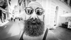 "#160 ""What the hell are you doing on this planet?"" (Hendrik Lohmann) Tags: street streetphotography portraits people series project whatthehell hendriklohmann duesseldorf nikondf nikon wideangle streetportrait croatia beards blackandwhite blackandwhiteportrait"