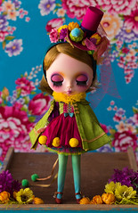 All ready to run away with the circus! (Trio Blythe) Tags: blythe handmade set special oneofakind custom nanukafactory colour bright intense silk tophat pompoms cape floral