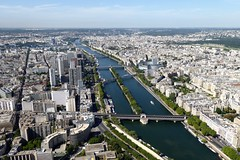 view of the Seine from the Eiffel Tower (Muddy LaBoue) Tags: iledefrance monuments towers iconicarchitecture 1889 2017 july worldexposition eiffeltower paris france attractions tourism panasoniclumixdmctz60 summer