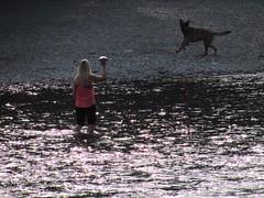 Fetch (thomasgorman1) Tags: river water dog fetch ball woman outdoors canada public candid calgary canon throwing dark dusk sundown