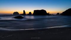Sea Stack Silhouette (TierraCosmos) Tags: bandon beach seascape sunset silhouette rocks seastacks bluehour water evening oregon coast oregoncoast