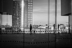 chasing the reality / connect the dots fill the frames (Özgür Gürgey) Tags: 2017 50mm bw d750 elbphilharmonie hafencity hamburg nikon architecture behindglass candid dots lines people reflection street germany
