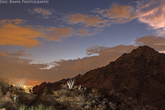 Piestewa Peak (Eric Binns Photography) Tags: phoenix squawpeak mountain clouds city arizona southwest ocotillo cactus strobe offcameraflash offcameralighting strobist sky outside exposure desert sonorandesert night rocky