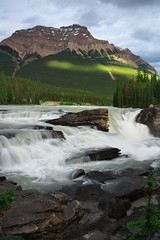 Athabasca falls (Adam Wang) Tags: sky landscape water nature travel sunlight rock summer fall waterfall mountain stream outdoors rapids scenic jasper athabasca