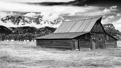 Moulton Barn (Molechaser) Tags: mountains clouds barn moultonbarn tamoulton tetons grandteton nationalpark monochrome blackandwhite abandoned canoneos60d canonef24105mmf4lisusm