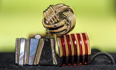 Three - Macro Mondays (PhilDL) Tags: three macromondays macro closeup menscufflinks jewellery colour color colours colors lightshade hue hues shapeform