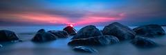 At the shore (solalta) Tags: lakewinnipeg longexposure blue sunset pink water victoriabeach rocks canada summer manitoba beautiful dusk ca