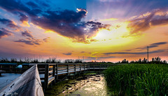 Sunset On The Boardwalk (Wendy Oor) Tags: sunset sunsets water lake reflections outdoors nature scenery sky yellow blue orange pink green summer boardwalk