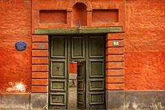 Copenhagen Door Orange and Green (Blueshound250) Tags: 2017 copenhagen travel architecture europe allrightsreserved orange green doors entrances