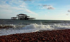 West Pier (Frantastic.) Tags: coast pebbles sea seaside seashore shore water ocean beach brighton england inglaterra uk landscape paisaje pier muelle sky cielo blue azul summer verano waves wave ola