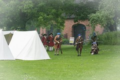 LACE WARS AT AVONCROFT MUSEUM (chrischampion2) Tags: avoncroft avoncroftmuseum historicalreenactments reenactments guns uniforms hats jacobiterebellion jacobite mid18thcentury lacewars colonelpulteneysregt13thfoot tents camp drill regimentaldrills regiments rosethistlejacobiteforces regimentirladoisdedillon dillons buildings historicalbuildings smoke smallarms musket muskets firearm firearms infantry infantries shooting shots marching standing standingtoattention