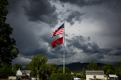 I hope we can squeeze some rain out of those clouds. (Flickr_Rick) Tags: outside summer clouds thunder flag evening manti