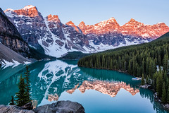Moraine Morning (Kristin Repsher) Tags: alberta alpenglow banff banffnationalpark canada canadianrockies d750 moraine morainelake mountains nikon reflections rockies rockymountains sunrise