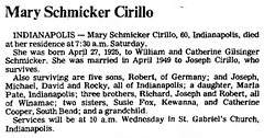 1985 - Mary Cirillo obit - Logansport_Pharos_Tribune - 22 Jul 1985