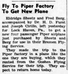 1953 - Sheetz Berg Furst Cirillo buy airplane - Enquirer - 28 May 1953