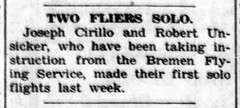1953 - Cirillo and Unsicker solo flights - Enquirer - 19 Nov 1953