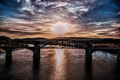 Wishing you each a happy weekend. : ) (Roland 22) Tags: flickr shadow light evening sparkling blue orange reflection marketstreetbridge sunset tennesseeriver chattanoogatennessee