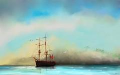 HMS Endeavour at anchor, Batavia (Pat McDonald) Tags: artrage britain fleet dutch digitalart ship sea sailor royalnavy thenetherlands waves redduster redensign dutcheastindies batavia anchorage jakarta fareast indonesia historical