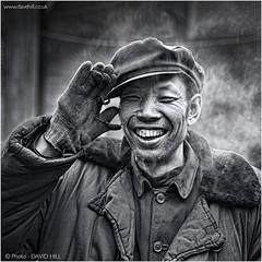Yaojie Salute (channel packet) Tags: china yaojie worker portrait wave salute monochrome blackandwhite davidhill