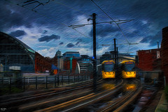 Trams on Time (Kev Walker ¦ Ƭнαиκ Ƴσʋ 4 Ғαʌ'ƨ & Cσm) Tags: architecture building canon1855mm citycentre england hdr lancashire manchester northwest outdoor trams track railwaylines clouds sky rain