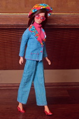 "Barbie ""P.J."" in Fashion Originals #7179 (DeanReen) Tags: vintage mod steffie pj barbie face doll standard european australian canadian brunette rare fashion originals 7179 1975 1974 1973 1972 1971 1970 70 71 72 73 74 75 blue red floral outfit 8587 tnt francie hands twist turn"