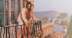 Under the Tuscan Sun (NatG loving the light) Tags: tuscany sim bellapace secondlife virtual amitie couple pose balcony summer warm vunyl romper