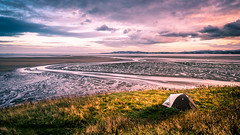 Irishtown nature park - Dublin, Ireland - Travel photography (Giuseppe Milo (www.pixael.com)) Tags: view camping hike traveller sunset tent nature outdoor clouds beach travel hiking dublin sky seascape grass ireland photography sea countydublin ie onsale