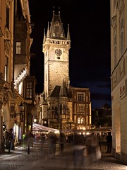 Prague Town Hall Clock Tower at Night (Barry O Carroll Photography) Tags: townhall clocktower oldtownsquare sidestreet prague praha czechrepublic night building cityscape streetscape urbanlandscape architecture travel longexposure slowshutterspeed motionblur