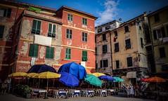 Umbrellas, umbrellas, umbrellas... Vernazza, Liguria (Ula P) Tags: italy liguria vernazza colorful umbrellas vacation summer hot sony sonynex