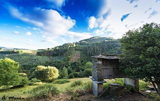Typical landscape of the interior of Galicia (Spain). Paisaje típico del interior gallego (España)