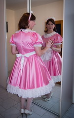 Pink Maid (blackietv) Tags: maid dress gown pink white satin petticoat lace apron tgirl transvestite crossdresser crossdressing transgender mirror