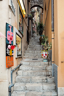 Stairs with traditional art in Taormina, Sicily, Italy