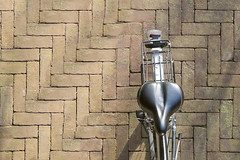 Bike from above (Jan van der Wolf) Tags: map17126v bicycle bike fiets fromabove perspective perspectief bricks stenen straat pattern patroon pov