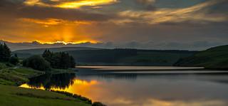 Sunset reflections, Llyn Clywedog, Powys.