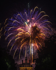 Red, White and Blue (Joe Rebello) Tags: virginia colonialwilliamsburg governor'spalacejuly4 fireworks independenceday night outdoor red blue palacegreen patriotic fourthofjuly historic