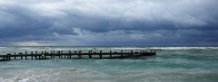 West End - Bad Weather Jetty (Explored 14 jul 2017, #434) (Drriss & Marrionn) Tags: mesoamericanbarrierreef island tropicalisland caribbeanisland diving caribbean outdoor honduras westend coast shore seaside roatán centralamerica seascape landscape ocean beach water sea sand cloud clouds storm sky skies tropicalbeach darksky panorama tropical pier jetty flowersbay bay wave waves charlielevel1