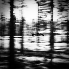 Suggestive speed (Patrik Öhman) Tags: speed suggestive forest fastcar car abstract blackandwhite