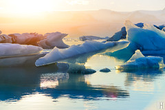the big fish - Jökulsárlón (gregor H) Tags: austurland island is jökulsárlón glacier lagoon iceland iceberg tail fin whale sunset melting water droping