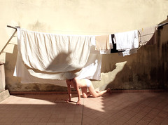 (LaSandra.) Tags: sandralazzarini laundryday girl sun wall italy faceless undercover pastel beige light summer