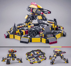 Turret (Milan Sekiz) Tags: lego blacktron black yellow red transturret mecha four legs