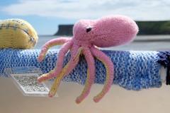 Pink Octopus (Glass Horse 2017) Tags: saltburnyarnstormers saltburn pier knitting wool seaside ocean pinkoctopus clever scanning qrcode tentacles