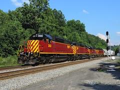 SWP 3503, 3501, 4006, 406 (Trains & Trails) Tags: emd engine locomotive diesel transportation sd402 red maroon standardcab broadford fayettecounty csx swp southwestpennsylvaniarailroad z68517 3503 signals