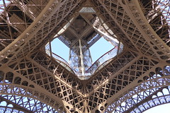 the Eiffel Tower - perspective changes everything. (Muddy LaBoue) Tags: iledefrance monuments towers iconicarchitecture 1889 2017 july worldexposition eiffeltower paris france attractions tourism panasoniclumixdmctz60 summer architecture tower frombelow