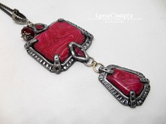 Polymer Clay Pendant Art Deco in Red by LynzCraftz (LynzCraftz) Tags: polymerclay pendant jewelry necklace oneofakind handmade art resin