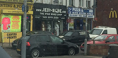 Sorry if anyone thought Star Wars was real. It's really a shop located in North London..... (The Landscape Motorcyclist) Tags: starwars jedi lucas london obiwan luke skywalker r2d2 yoda c3po darth vader