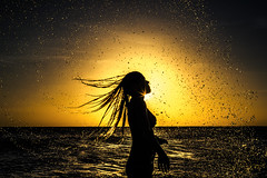 GLOWING DROPS (CUMBUGO) Tags: drop water girl woman hair sea ocean sun backlight sunset sunlight light reflection color sigma 50mm f14 beach nikon d800 d800e aruba caribe