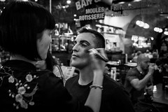 always be yourself 1 (jrockar) Tags: street streetphoto streetphotography documentary candid moment instant decisive london bw mono blackandwhite x100f fujix fujifilm holyf jrockar janrockar idiot westfromeast ordinarymadness people guy gay queer transgender wig beauty preparation makeup